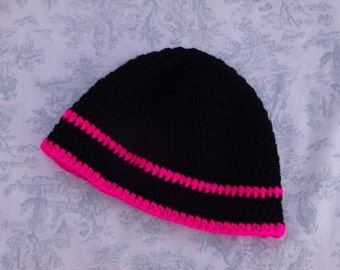 Black and Pink Reflective Beanie