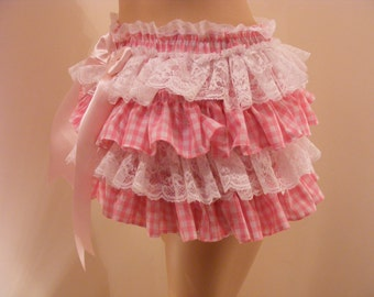sissy ABDL panties pink gingham frilly front and back ruffle tutu knickers  adult baby CD TV diaper cover