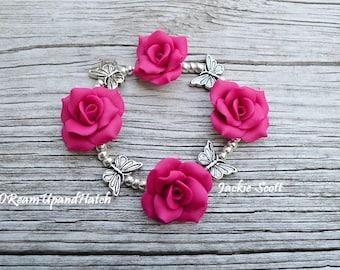 Handmade Fuchsia Rose Bracelet, Free Shipping