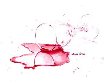 Watercolor Art Portrait Print Spilled Wine