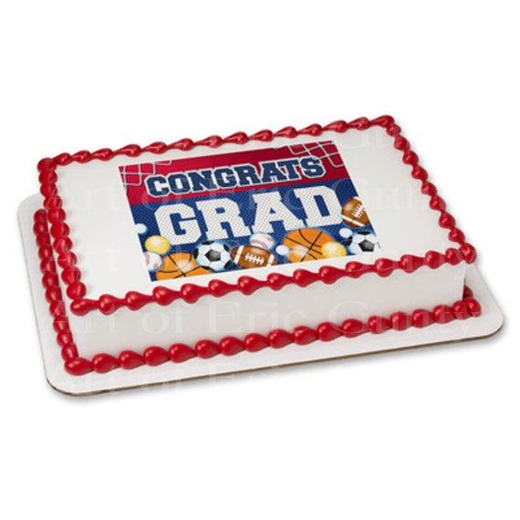 Congrats Grad Sports Graduation - Edible Cake and Cupcake Topper For Birthday's and Parties! - D22037