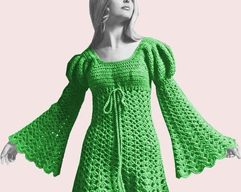 "INSTANT DOWNLOAD PDF, Crochet Dress Pattern 1970s, Dress Digital File Crochet Pattern - ""Juliet"" Mini Dress"