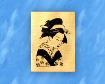 GEISHA mounted Oriental rubber stamp, Japanese lady, geiko, artisan, entertainer, woman, artist, Sweet Grass Stamps No.12