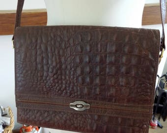 Aspis, made in Cyprus, vintage brown textured leather shoulder bag