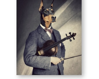 Doberman Pinscher Art Black and White Print Wall Art Animals In Clothes Dog Art Print Gifts For Musicians Violin - 2 color choices (3 sizes)