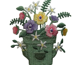 ID 7051 Colorful Potted Flowers Patch Garden Plant Embroidered Iron On Applique
