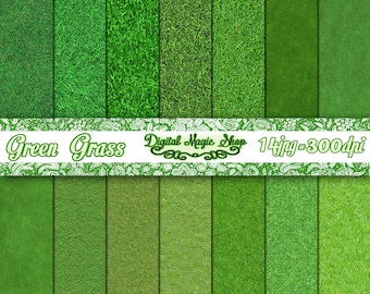 Grass Texture Digital Paper Pack - Digital Grass Paper - 14pcs 300dpi (paper crafts, card making, scrapbooking) Personal and Commercial use