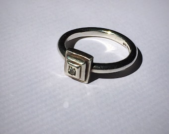 Modern Geometric Sterling Silver and Diamond Ring