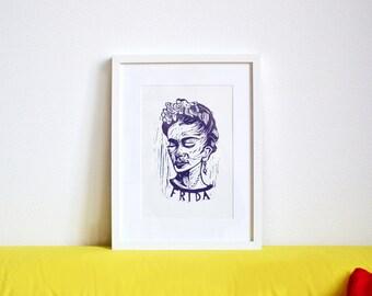 Frida Kahlo portrait Artprint Linocut A3