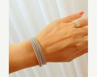 Mother Day Sale - Thin silver bracelet - Strech bracelet - Spring bracelet - Layered bracelet - Flexible bracelet - Elastic band