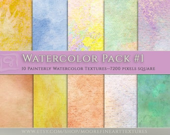 10 BEAUTIFUL WATERCOLOR BACKGROUND— Oversized 7200 pixels Square Textures for Photographers, Scrapbookers, Artists; Downloadable