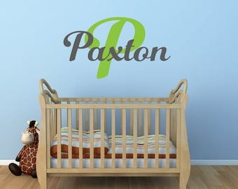 Boys Name Wall Decal - Personalized Monogram - Childrens Wall Decals - Kids Wall Decals - Boys Wall Decal - Baby Boy Nursery Wall Decal