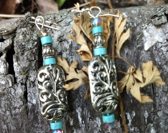 Turquoise and silver plate filagree earrings