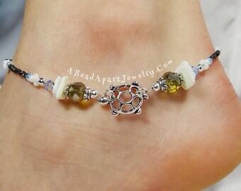 Anklet, Ankle Bracelet, Sea Turtle Anklet, Boho Anklet Green Anklet Beach Anklet Beach Jewelry Turtle Jewelry Vacation Jewelry Beaded Anklet