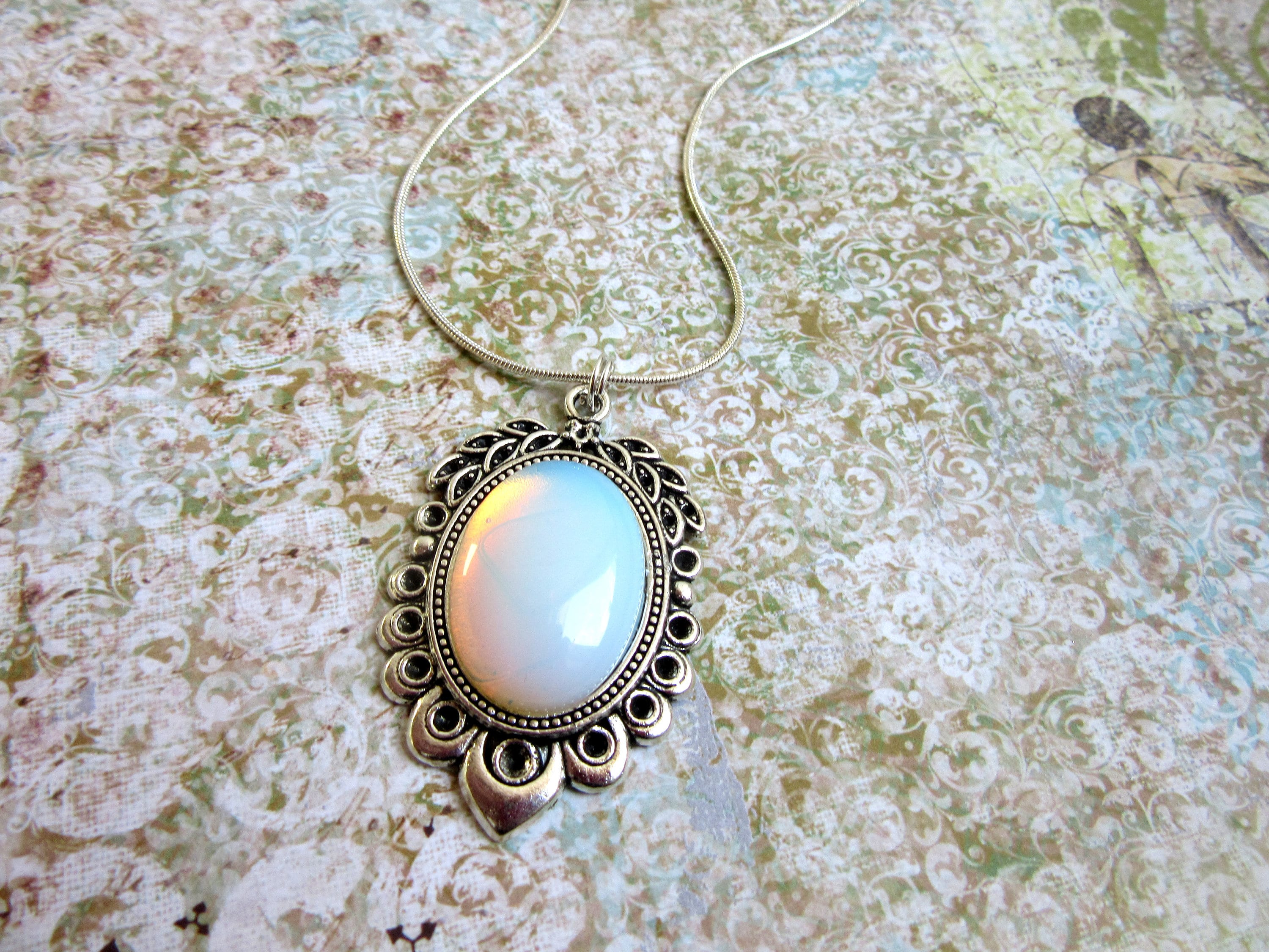wire pendant opalite chain pin necklace link and brass on antique
