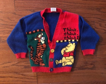 Vintage 90's colorful kids Winnie The Pooh and Tigher button up cardigan