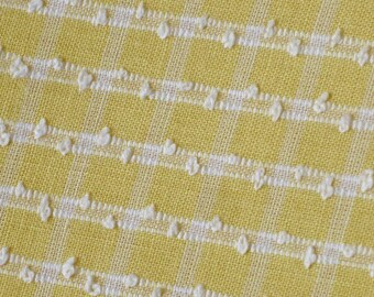 1970s yellow poplin fabric - over 3 yards of yellow and white check cotton dressmaking fabric