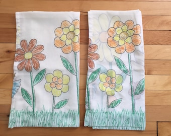 Vintage 1970s White Drawn Floral Semi Sheer Curtain Panels!