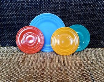 Hazel Atlas Moderntone Platonite Dinnerware // Saucers And Side Dish // Blue, Aqua, Rust, Yellow