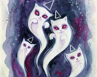Ghost Kitties - ghouls, halloween art, white cat art, vampire cat, halloween, cute spooky, mini art print, small art, gift ideas, phresha