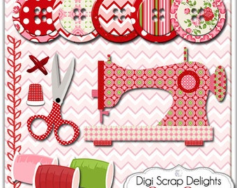 Sew Sew Sewing Clip Art, Instant Download Vintage Rose Digital (Cath Kidson, Style) Buttons, Scissors, Thimble
