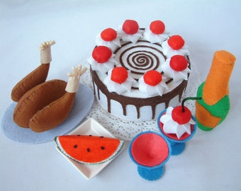 Felt food pattern Black forest cake,roast chicken,wine,watermelon-F24