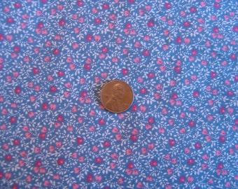 Dollhouse fabric pink & blue floral fat quarter miniature 1:12 scale