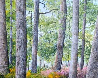 Tree Painting - Nature Art - Forest Painting - Landscape Painting - Fine Art Print - Meadow Painting - Matted Print