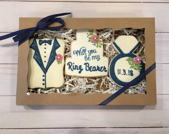 Will you be my Ring Bearer Gift, Proposal Gift, Ring Bearer Cookie Box Gift