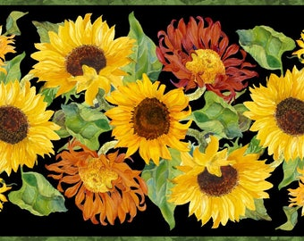 """Sunflowers Flowers of the Sun  Quilt Fabric Panel 24"""" x 44"""""""
