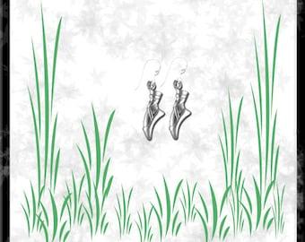 Ballet Slippers Sterling Silver Earrings