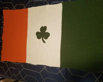 Irish Flag Afghan (Orange, Off White & Green) can make with Shamrock or without
