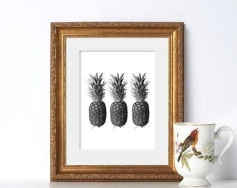 Pineapple Print Digital Download Pineapple Art Black and White Art Deco Printable Art Digital Download Print Tropical Art Tropical Print