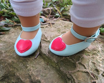 "Cute Light Blue and Red Heart 18"" Doll shoes, Fits American girl dolls"