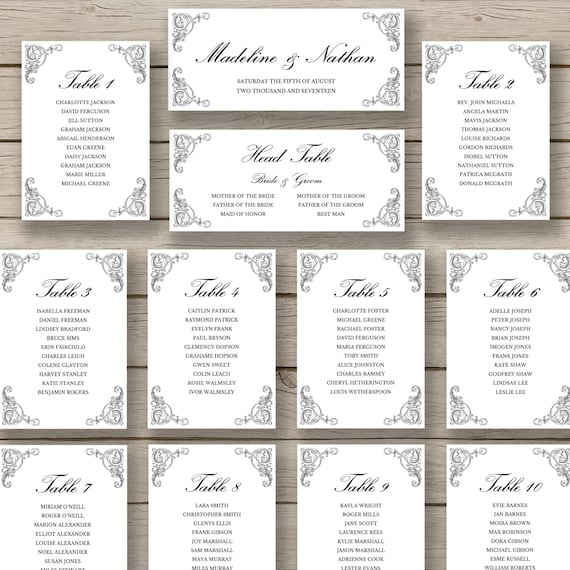 Items similar to seating chart template printable diy for Copc table f template