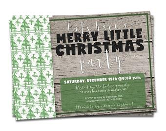 Rustic Wood Christmas Invitation, Rustic Wood Christmas Party Invitation, Printable Christmas Invitation, Rustic Wood Holiday Invitation
