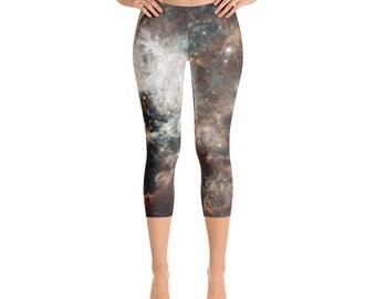 Galaxy Capri Leggings - Galaxy Leggings - Hubble Print - 30 Doradus - Tarantula Nebula - Large Magellanic Cloud -  Astronomy leggings Capri