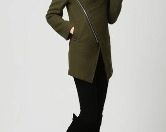 Moss Green jacket, short coat, wool coat, Womens coat, Short  Wool Coat, hooded coat, Asymmetrical coat , wool coat, warm winter coat (1128)