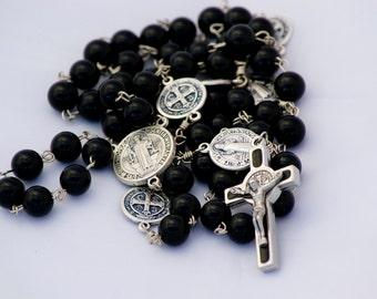 Handmade Catholic Rosary Black Onyx Gemstone with Saint Benedict Crucifix and Paters