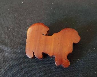 Vintage Handmade Handcarved Wood Dog Brooch Pin