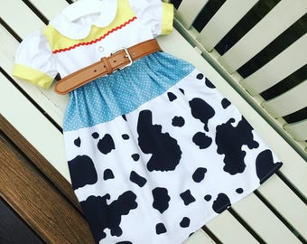 JESSIE TOY STORY Disney cowgirl dress made to fit in quality 100% cotton fabrics with belt and cow print fully lined skirt