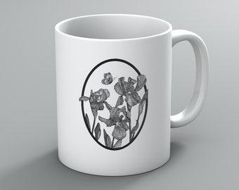 Iris Mug, Flower Mug, Pen and Ink Art Mug, Coffee Mug, Gift Mug