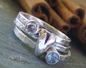 Heart and stone hand stamped silver and faceted gem stone stacking rings