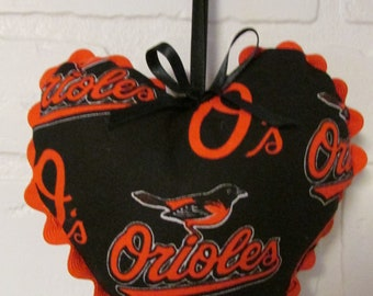 Baltimore Orioles, Stuffed Hearts, Hanging Hearts, MLB, Baseball, Orioles, Easter Basket stuffer,Sports gifts, Team Gifts, Baseball Teams