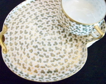 Japanese tea cup and snack plate, set of 6