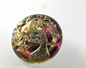 Purple Fuchsia and Gold Peacock Czech Glass 22mm Button or Jewelry Bead or Clasp
