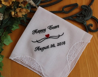 Happy Tears handkerchief, your custom date and name,wedding favor, Personalised wedding favor, custom wedding favor,embroidered hanky LS1F38
