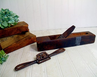 Wood Plane Tools Vintage Very Rustic Pair Set of Two Old Functioning Woodworking Hand Plane Tools - Primitive Display or Art Project Pieces