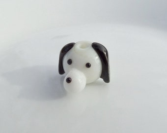 21mm Lampwork Dog Glass Beads, 2CT. S37