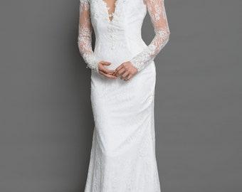 long sleeve wedding dress/bohemian wedding dress lace/fit and flare wedding dress/boho wedding dress sleeves/winter wedding dress/ bohemian